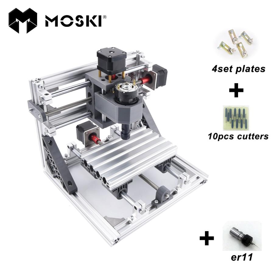 MOSKI CNC 1610 with ER11 diy cnc engraving machine mini Pcb Milling Machine Wood Carving machine