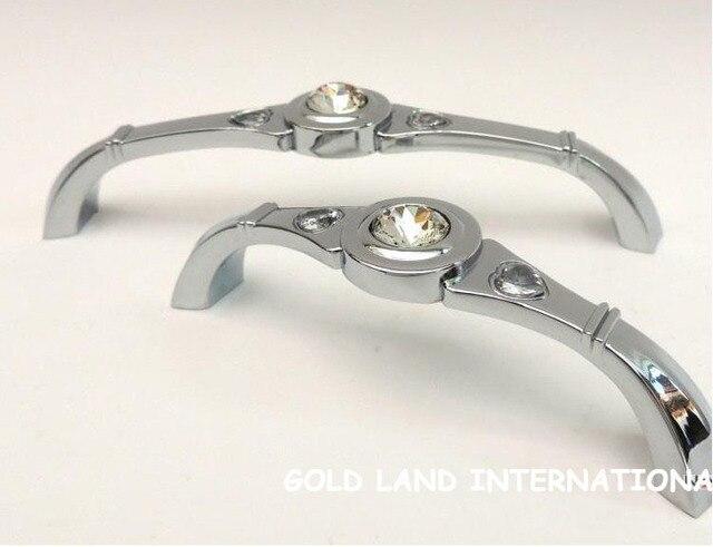 128mm Free shipping K9 crystal glass drawer pull handle kitchen door wardrobe handle