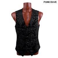 Gothic Palace Blue Mens cool Vest Visual Streampunk fashion Kera emo printing buttons slim Top Jacket Punk Rave Y 452