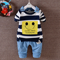 M&F 2017 New Children Set Casual Stripe Boys Clothes Handsome Long-sleeved Smile T-shirt+Pants Children's Clothes Suits For Girl