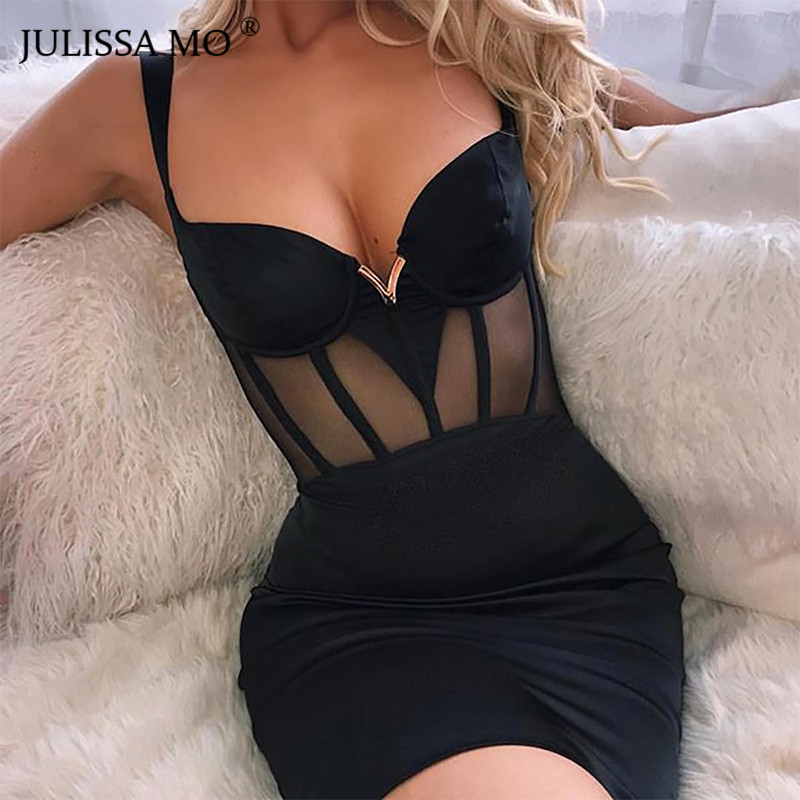 JULISSA MO <font><b>Black</b></font> Mesh <font><b>Sexy</b></font> <font><b>Summer</b></font> <font><b>Dress</b></font> Women V Neck Spaghetti Strap <font><b>Bodycon</b></font> <font><b>DressES</b></font> <font><b>2019</b></font> Elegant Backless Mini Party Vestidos image
