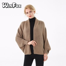 Winfox 2018 New Brand Fashion Winter Khaki Black Solid Color Knitted Sweater Coat  Poncho and Cape For Womens