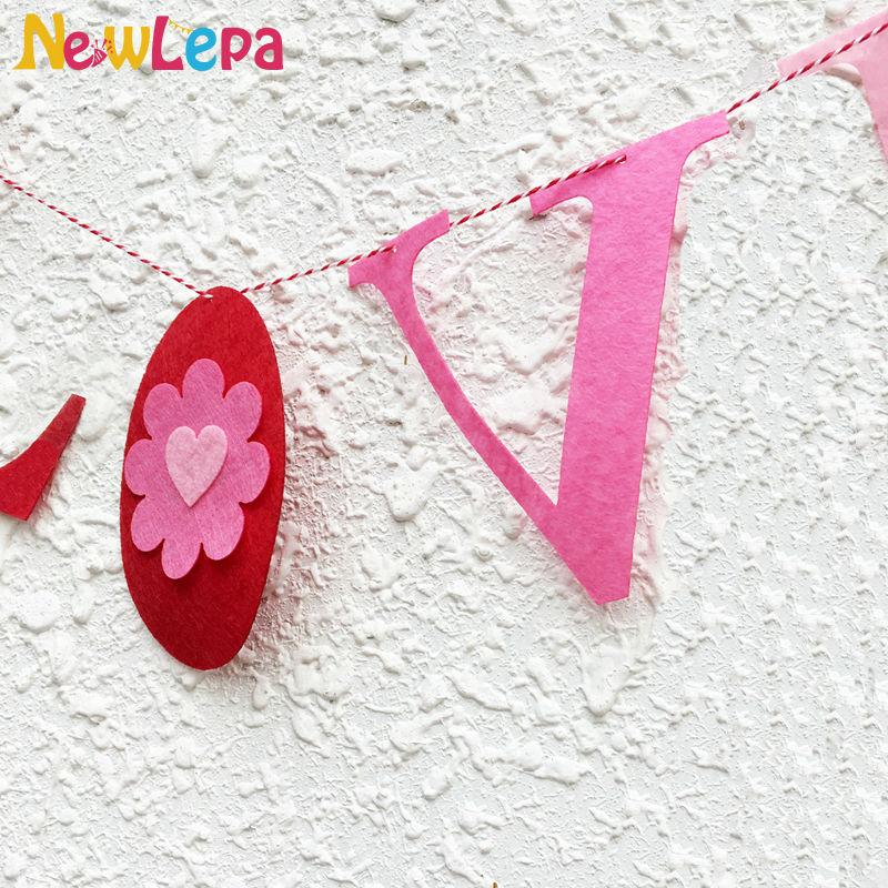 Paks mittekootud kangast vilt LOVE süda Kohanda bänneri Garlandi - Pühad ja peod - Foto 3
