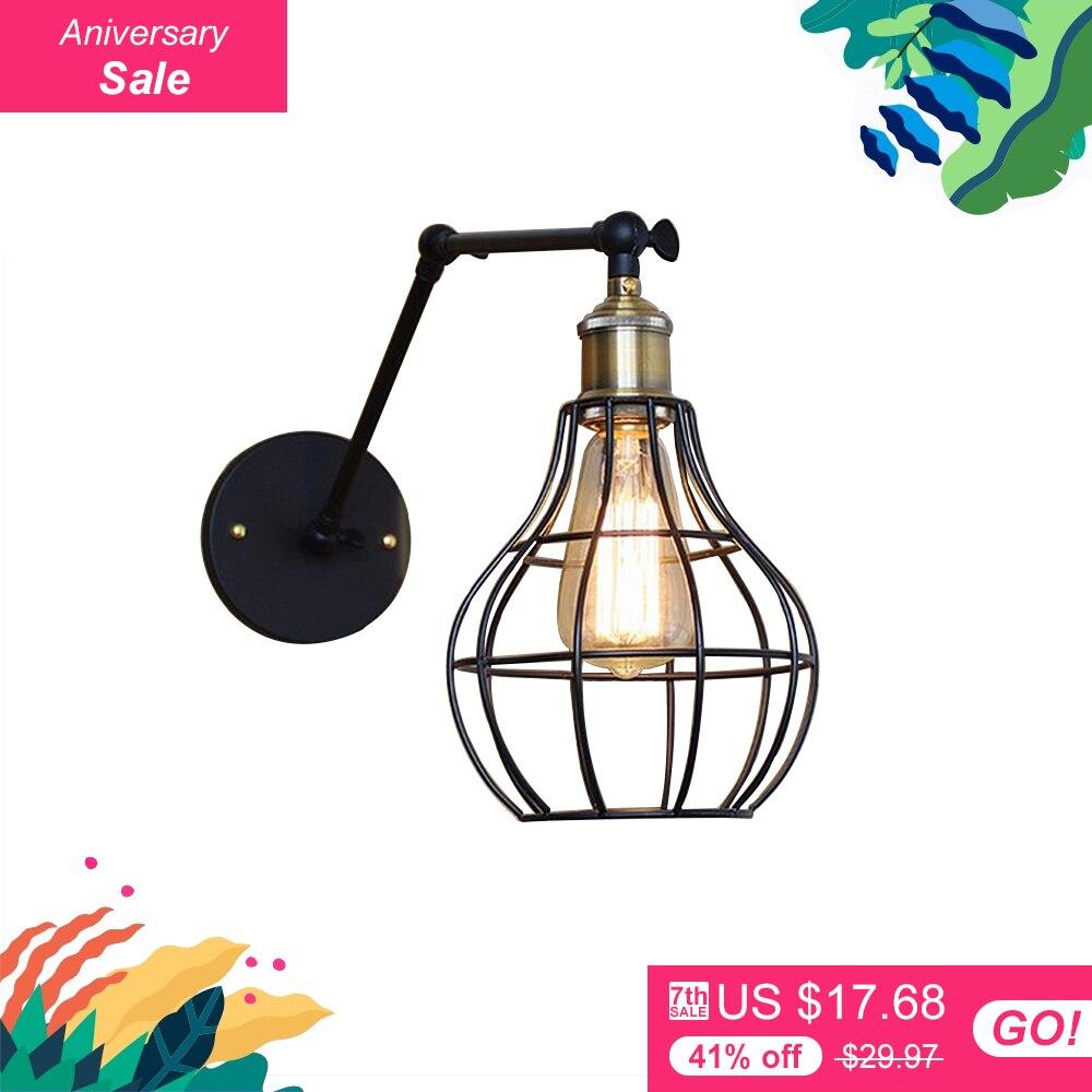 Edison light font b bulb b font Mini wall lamp Knob switch warehouse loft American country
