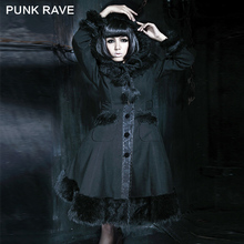 Punk Rave Woolens Coat with Hat Unique Gothic Vintage Fur Slim Solid Coat  Lolita Jacket LY-045