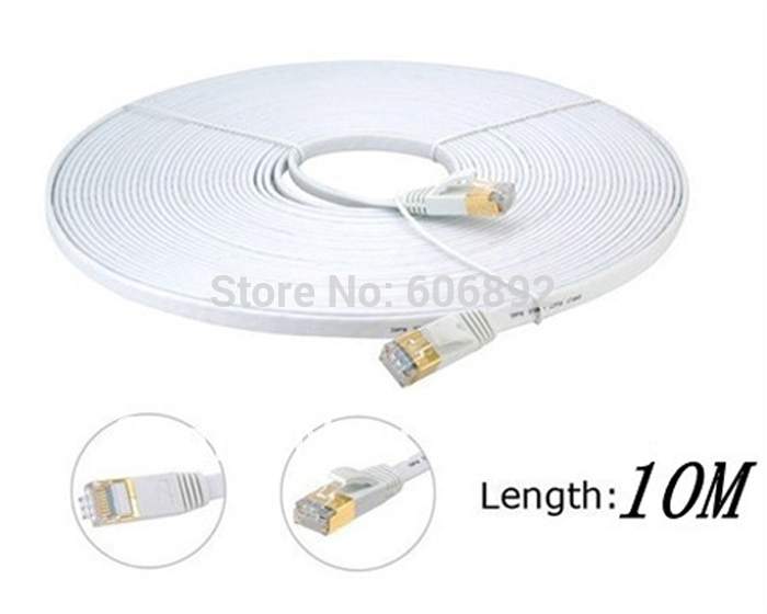 New 100% Network Cable Ethernet Cable Cat7 RJ45 M/M Thin High Speed Flat Shielded Twisted Pair Internet Lan 10M Free shipping factory price 50cm cat 7 10 gigabit ethernet cable modem router rj45 for lan network au4 drop shipping drop shipping