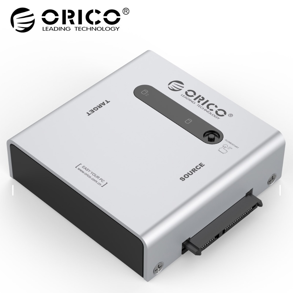 ORICO Aluminum 2 bay 2.5&3.5 inch SATA Hard Drive Duplicator Adapter with USB3.0 cable - Silver недорго, оригинальная цена