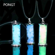 Glow in the Dark Stones Real Opal Glass Bottle Pendant Necklace for woman moonstone crystal necklace stone pendant jewelry