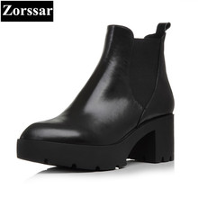 {Zorssar} 2018 Genuine Leather Women Boots High heels platform ankle boots pointed Toe womens Martin boots winter female shoes
