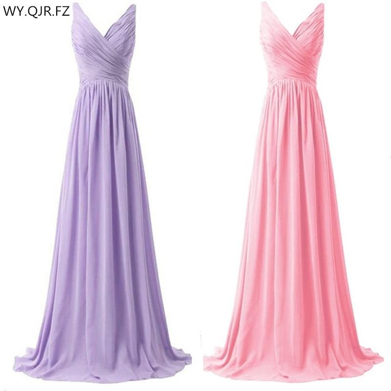 LLY1130Z#V-neck Spaghetti Straps Long Lace Up Purple Blue Bridesmaid Dresses Wedding Party Prom Dress 2018 Bride Ladies Fashion