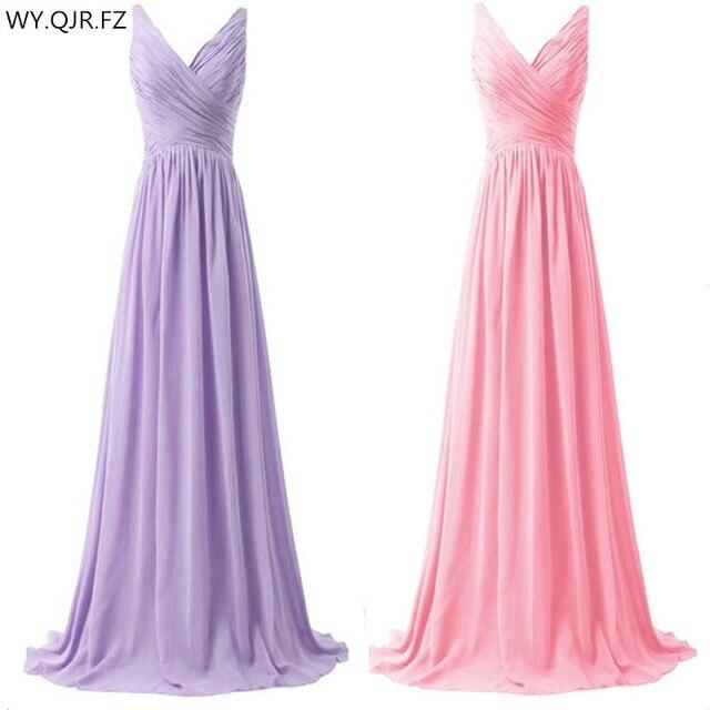 LLY1130Z # vネックスパゲッティストラップレースアップ紫ブルー花嫁介添人ドレスウェディングパーティードレス花嫁ファッションの女の子