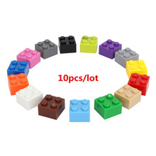 10pcs/lot 2*2 DIY Building Block Thick Bricks Compatible with Legoe Educational Toy Multicolor Gift for Children