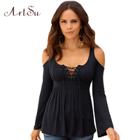 ArtSu Autumn S 5XL Lace Stitching T Shirt Long Sleeve Tops Tee Shirt Sexy Off Shoulder