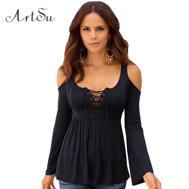 ArtSu Summer S-5XL Lace Stitching T Shirt Long Sleeve Tops Tee Shirt Sexy Off Shoulder Tops Plus Size Women T-Shirts ASBL20018