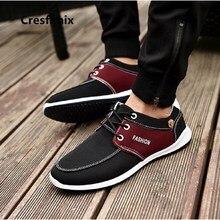 Cresfimix zapatos hombre male casual street lace up shoes men plus size high quality denim blue shoes man's leisure shoes a2699