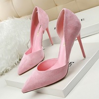2019 Women Heels Wedding Scarpin Fetish 10cm 8cm Suede Flock High Heels Female Green Brown Lady Valentine Plus Size 40 Pumps