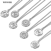 WFSVER Indian style necklace Yoga 7 chakra pendant silver color stainless steel for women men fashion jewelry