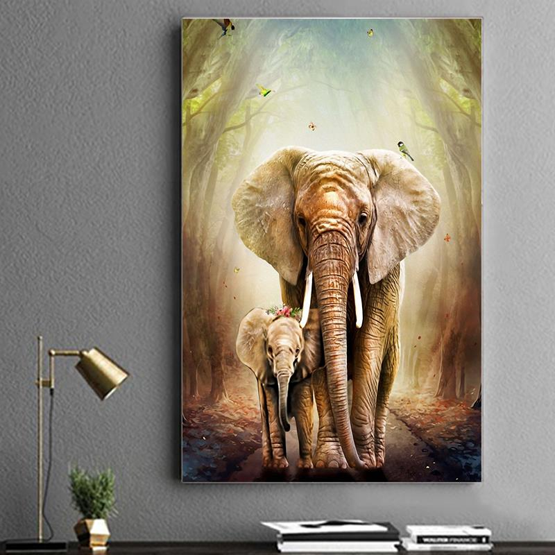 Diamond Painting Rhinestones-Decor Cross-Stitch Animal Elephant Home Full Round 5d Diy