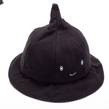 Fashion Child Cute Solid color smiley face Fisherman Bucket Hat Cap Folding Basin Caps Hats For Children Fishing Accessories