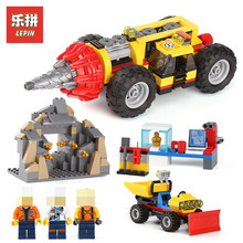 Lepin 02101 329Pcs Genuine City Series LegoINGlys 60186 Mining Heavy Drill Bit Set Building Blocks Bricks Toys Model for boys(China)