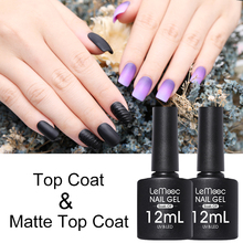 LEMOOC 12ml Base Coat Gel Nail Polish Matte Top UV Varnish Transparent Soak Off No Wiping Art Design