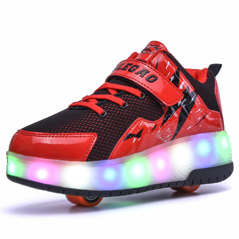 Rechargeable Boys Girls Double Wheel Breathable Glowing Roller Skates Sneakers LED Light Shoes Little Kids/Big Flashing Board joyyou brand usb children boys girls glowing luminous sneakers with light up led teenage kids shoes illuminate school footwear