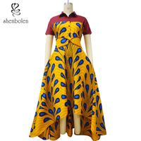 Shenbolen African Dresses For Women Ankara Style Wax Printing Clothes Fashion Dress African Traditional Clothing