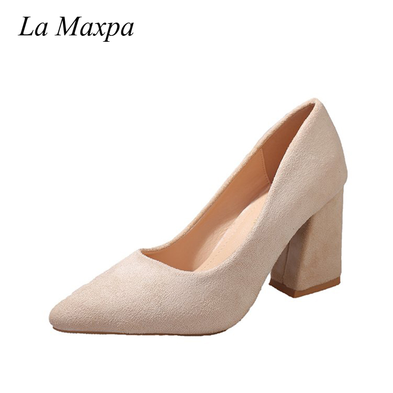 La MaxPa Nude High Heels Sexy Office Thick Heels Women Shoes Big Size 35-41 Ladies 2018 Pointed Toe Mature Slip-On Black Pumps asumer high heels large size 33 41 office shoes pointed toe square heels slip on women pumps sequined black apricot lady shoes