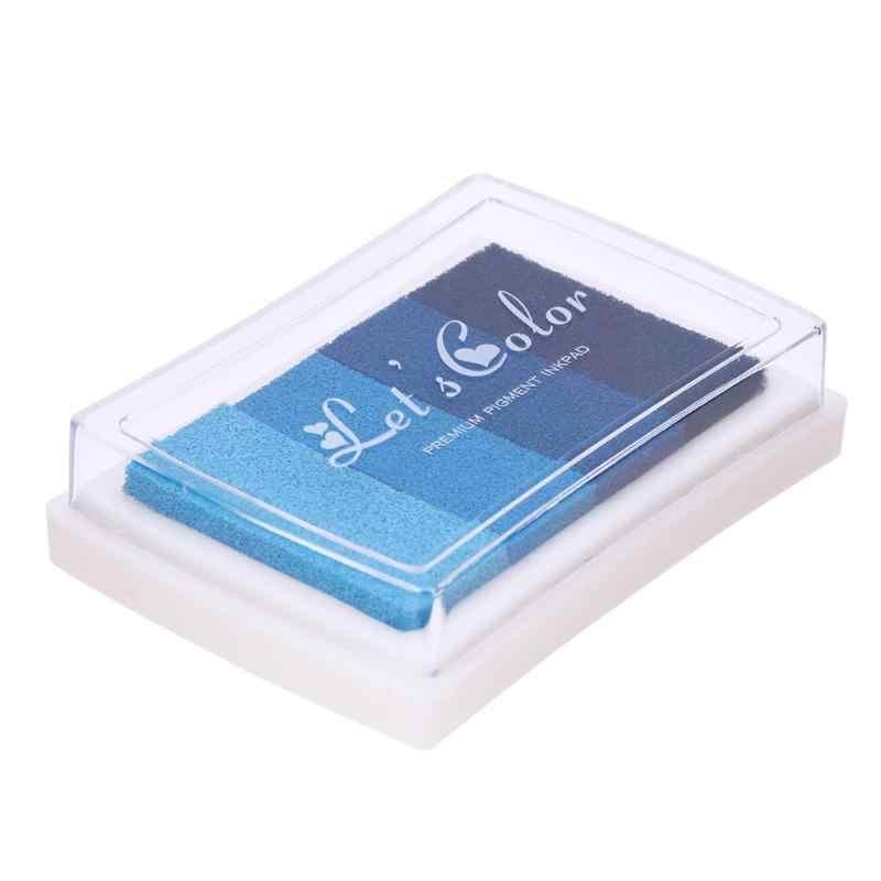 4 colores gradiente Inkpad DIY sello de tinta coloreada almohadilla niños impresión papelería manualidades de juguete DIY Scrapbooking almohadilla de tinta sellos de sellado