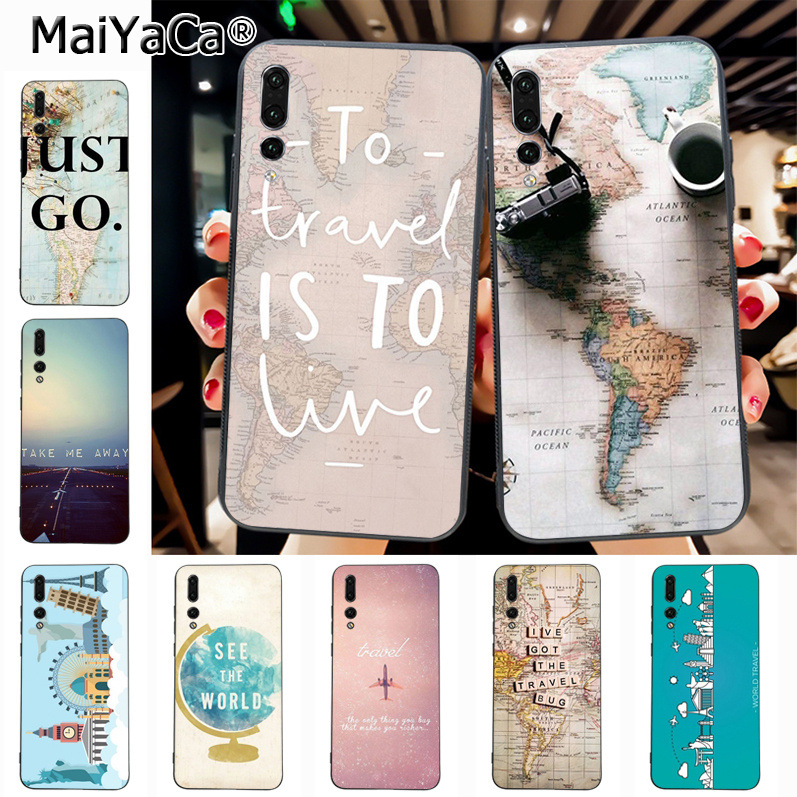 Maiyaca World Map Travel Plans New Luxury fashion cell phone case for Huawei P20 P20 pro Mate10 P10 Plus Honor9 cass(China)