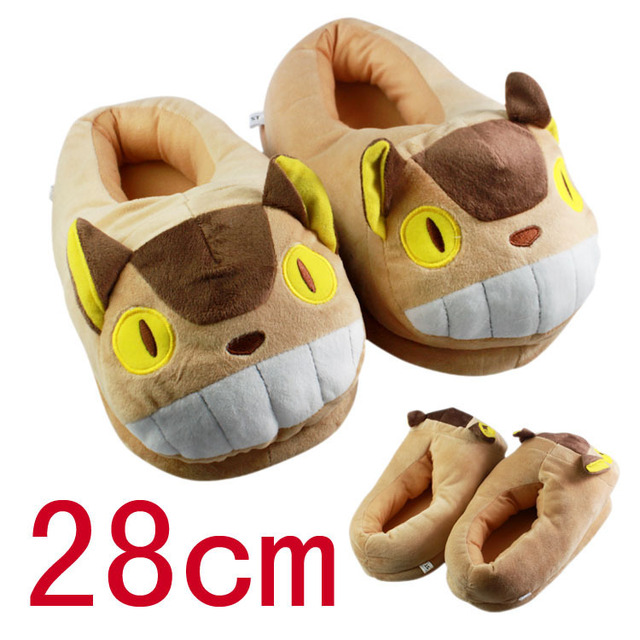28d4afc17de5 Cartoon My Neighbor Totoro Cat Bus Plush Slipper Soft Shoes Winter Indoor  Slippers For Adult Retail