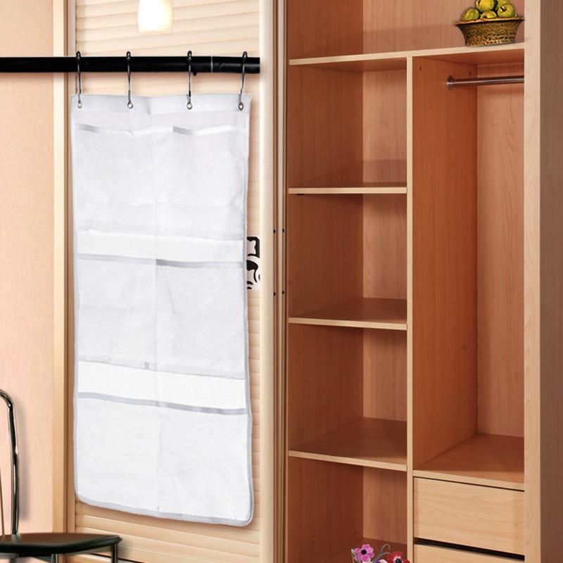 Home Use 6 Pocket Bathroom Tub Shower Towel Clothes Hanging Mesh ...