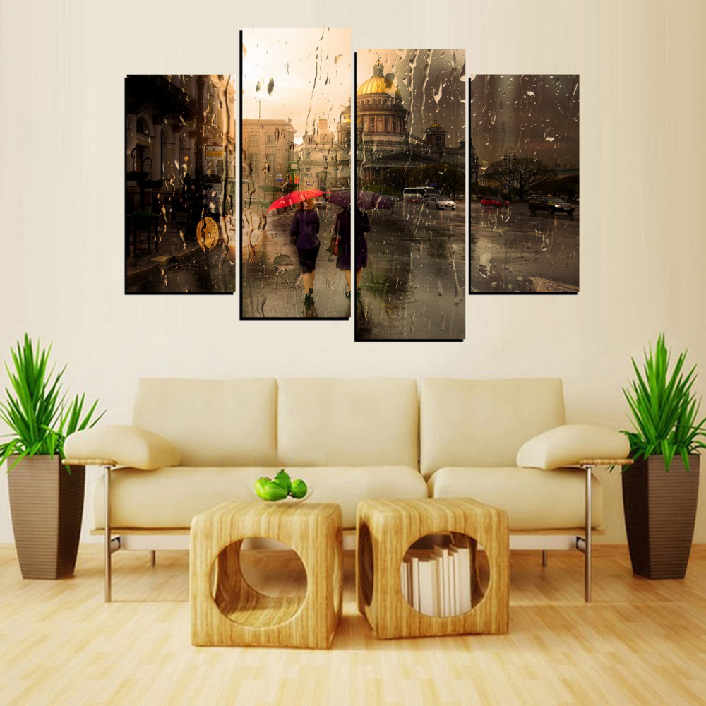 4 Panels Precious Friendship In Rains Picture Canvas Print Painting For Living  Room Wall Art Picture Gift Home Decor SUM006 In Painting U0026 Calligraphy From  ...