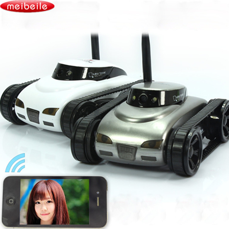 Mini RC Tank APP Controlled Wireless Spy Tank I-SPY Remote Control Robot with Camera Wifi Controlled Monitoring Vehicle iOS Gift wifi mini rc camera tank car ispy with video 0 3mp camera 777 270 remote control robot with 4ch suppots by iphone android app