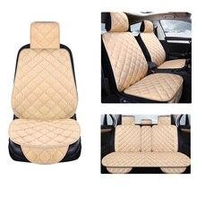 Capa de assento de carro de pelúcia, quente, pele falsa, frente traseira automotiva, com encosto, almofada protetora, acessórios interiores