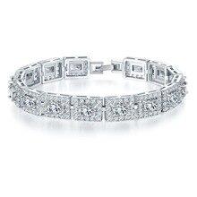 Charm Silver Plated Piedra Rhinestone Crystal Pulsera de Cadena Femenina de moda Creado Gemstone Strand Pulseras Pulseras Mujer