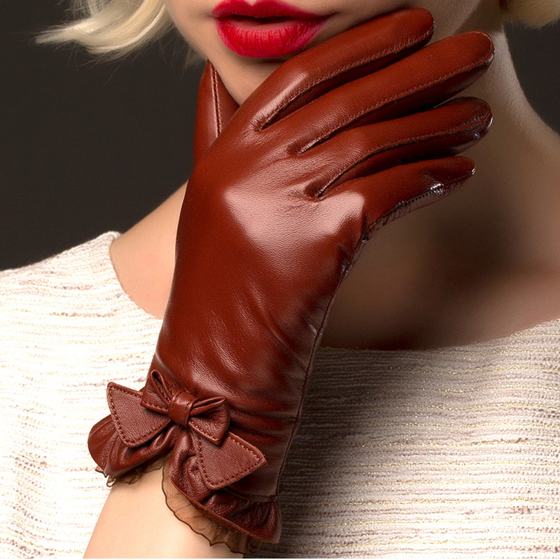 BOOUNI Genuine Sheepskin Gloves 2019 Fashion Wrist Lace Bow Solid Women Leather Glove Thermal Winter Driving Keep Warm NW176