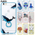Aokin Blue Pink Cartoon animals Thin Hard Phone Back Cover For Apple iPhone 6 6s Plus Transparent ring Gel Case For iPhone 6 6s