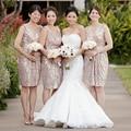 Elegant Sequined Rose Gold Short Bridesmaid Dress Women Wedding Bridesmaid Formal Gowns Bridesmaid Gown Women Greek Saudi Arabia