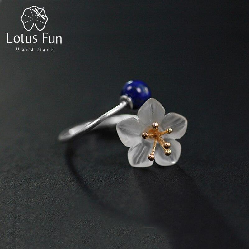 Lotus Fun Real 925 Sterling Silver Natural Crystal Lapis Stone Handmade Designer Fine Jewelry Nice Flower Rings for Women Bijoux naillook nice bijoux 30665 30665