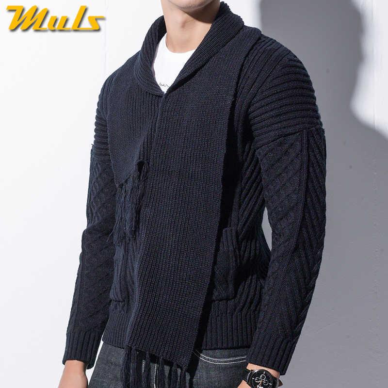 Зимний мужской кардиган, пальто, утепленный свитер свободного кроя, теплый свитер с высоким воротником, мужской осенний вязаный свитер черного цвета, брендовый M-4XL