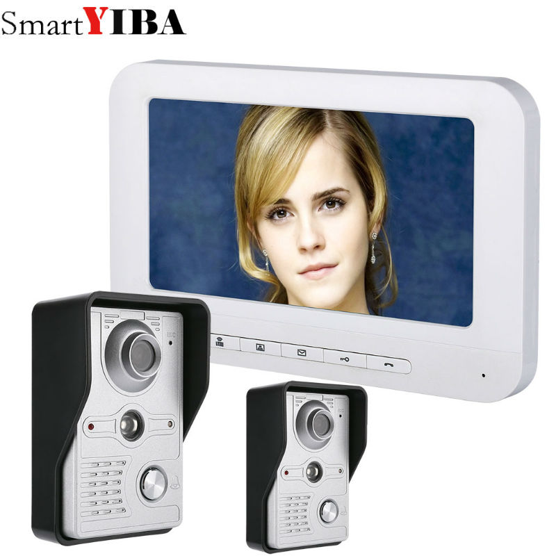 SmartYIBA Home Security Intercom 7''Inch Wired Video Door Phone System Visual Video Intercom Doorbell 1 Monitor 2 Camera Kit yobang security free ship 7 video doorbell camera video intercom system rainproof video door camera home security tft monitor