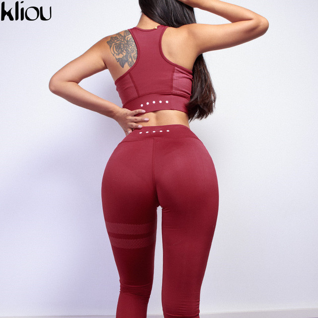 Kliou 2018 Women fitness Two Piece Set Women Sexy Set Sporting Bra sporting Top+Long workout Pants High-Quality workout Suits 2