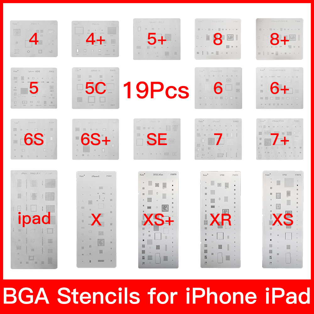 19 Pcs Full Set IC Chip BGA Reballing Stencil Kits For IPhone XS MAX XR 8p 7 6s 6 SE 5S 5C 5 4S IPad High Quality