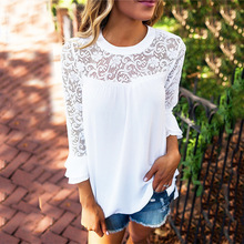 Hollow Out Lace Chiffon T-shirts for Woman Solid Color O Neck Patchwork Tshirt Female Camisetas Mujer Tops Verano 2019