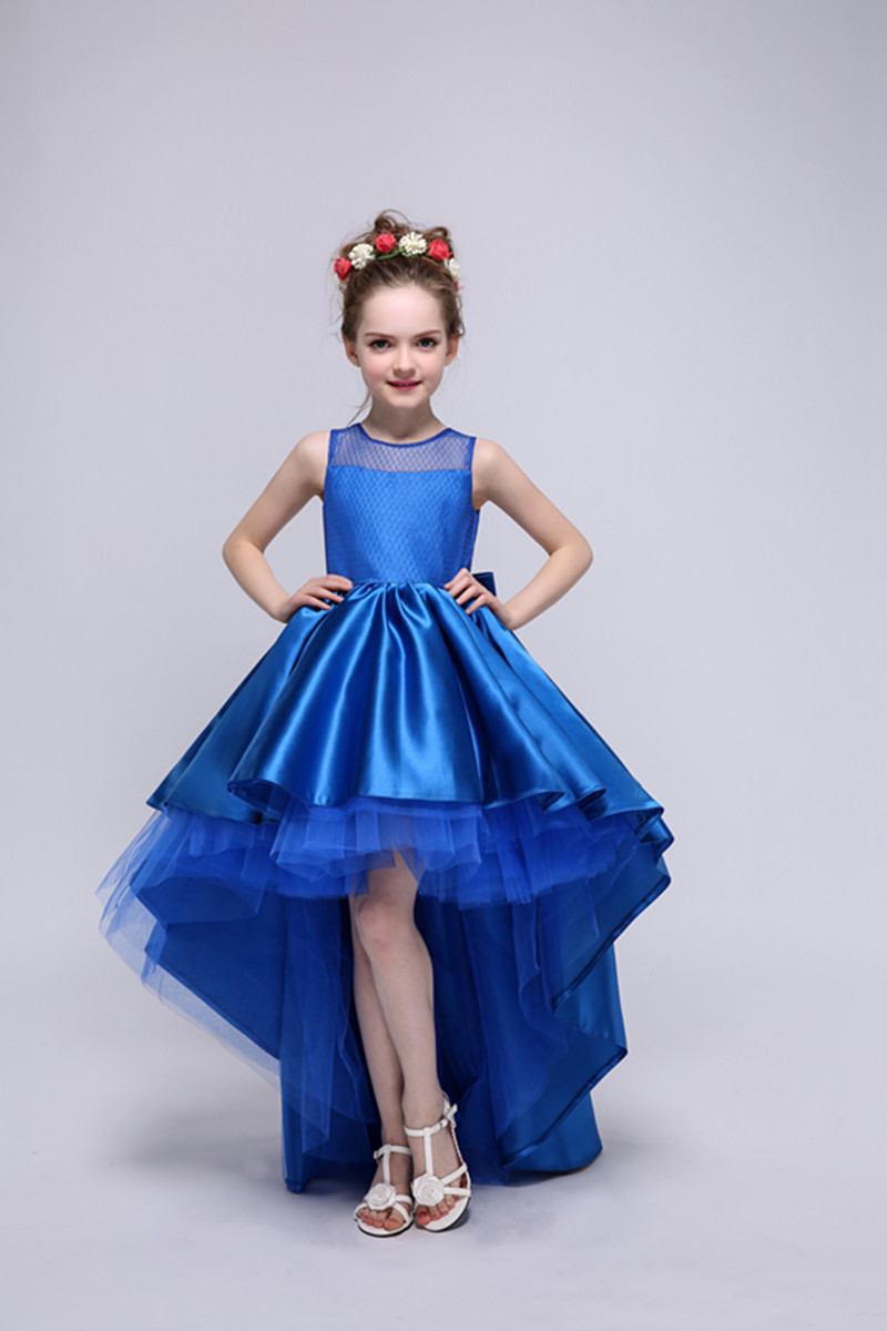Satin Flower Girls Dresses For Wedding Gowns Blue Girl Birthday Party Dress Kids Prom Dresses Long Mother Daughter Dresses new red champagne flower girl dresses long sleeves lace satin mother daughter dresses for children christmas party prom gown