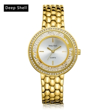 deep shell montre femme Ladies Quartz Watch Women Alloy Women's Watch Gold Silver Crystal reloje mujer