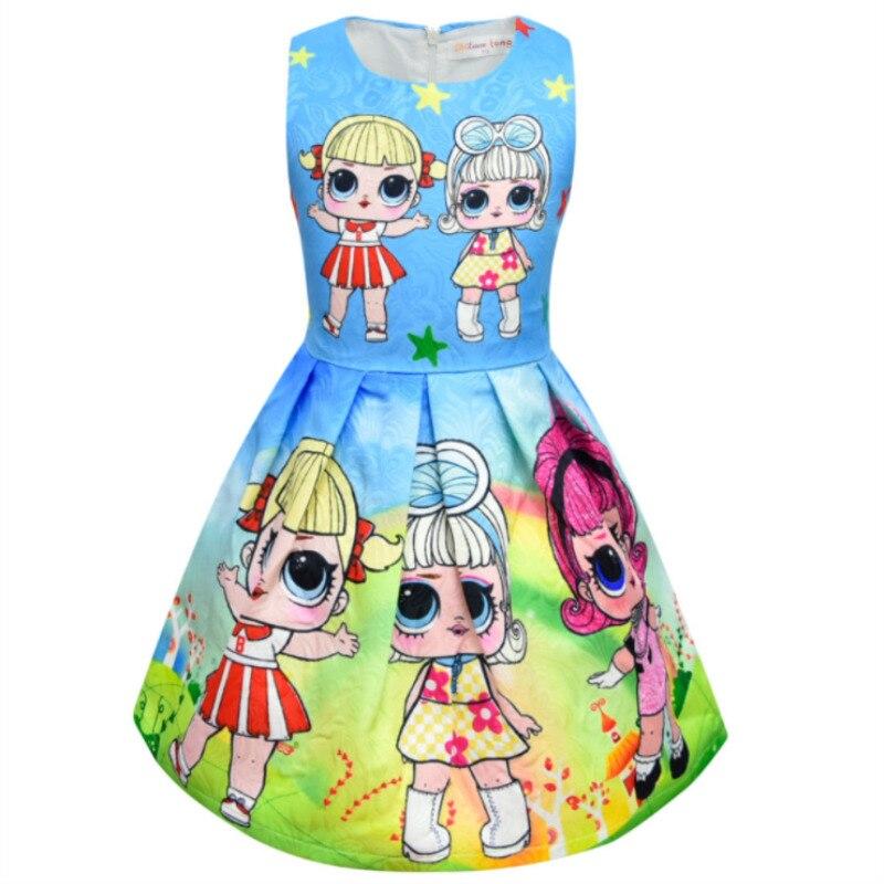 Girls Dresses Pink Cartoon Lol Surprise Doll Pattern Dress Girl