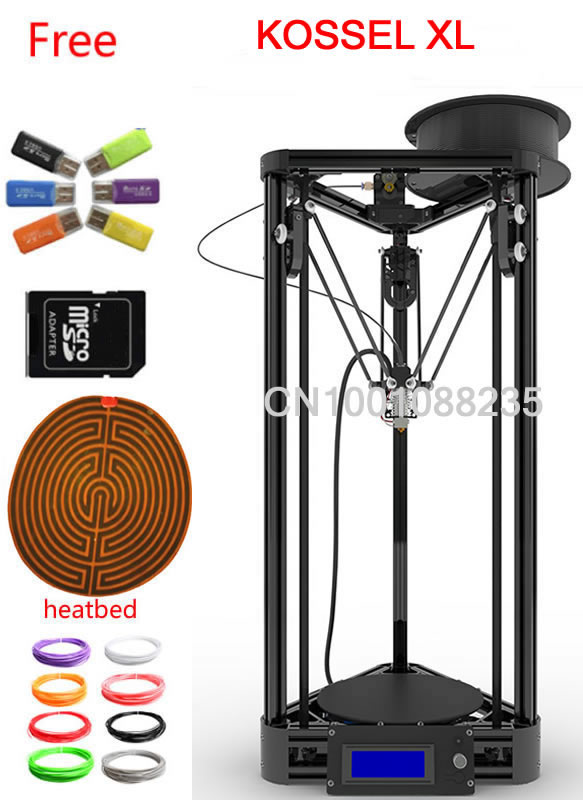 balck or gold kossel XL 50g filament heated bed LCD 2004 Display Reprap Delta Rostock kossel k800 l DIY Kit kossel 3D Printer diy kit lcd 2004 display kossel k800 reprap rostock delta kossel mini 3d printer