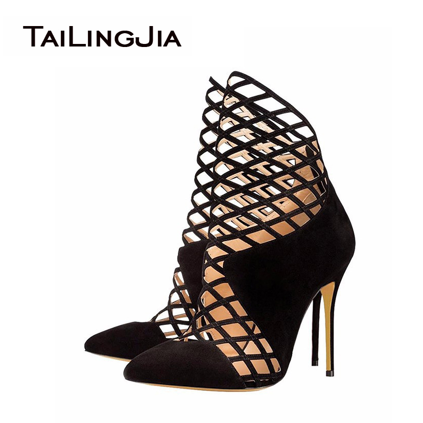 ФОТО 2017 Ladies High Heel Pointed Toe Pumps Cut out Decoration Sandals Handmade Stiletto Shoes For Party Dress